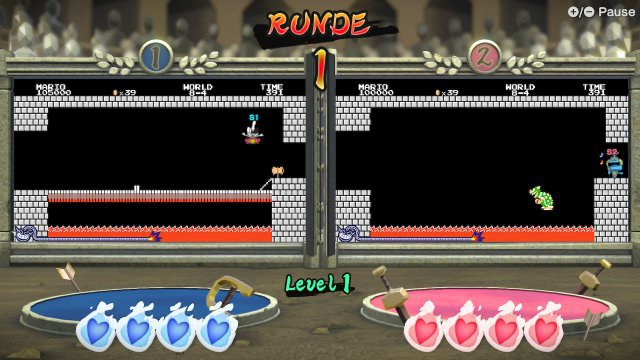 Bowser defeat in a duo - depending on the game mode, you can compete in two windows in parallel.  Here you can see a discipline with a Nintendo retro touch.